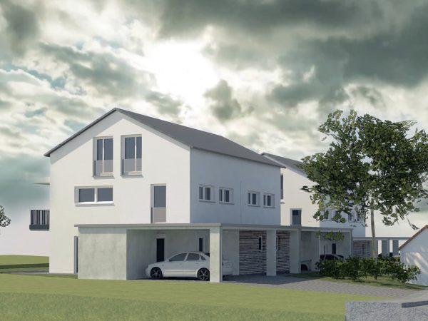 Neubau von zwei Doppelhäusern mit Carports in Wasserburg