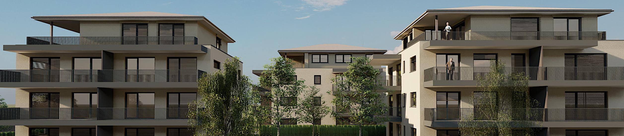 Neubau von drei Wohngebäuden mit 27 Einheiten und Tiefgarage